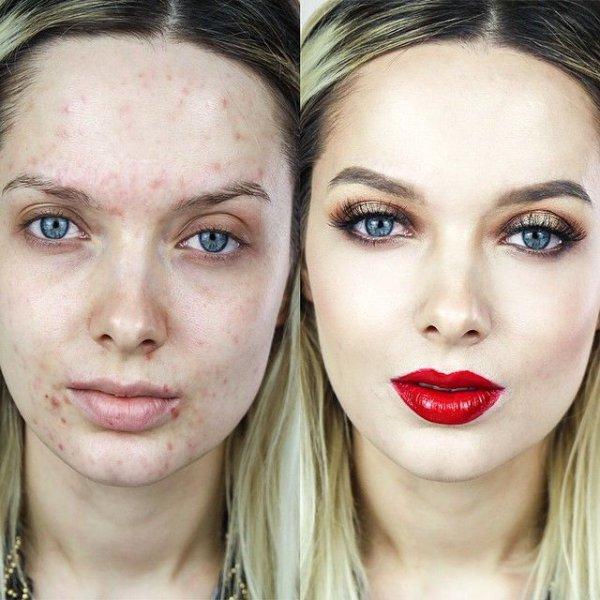 девушки маскируют проблемную кожу, макияж до и после