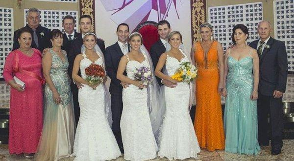 Свадьба бразильских сестер-тройняшек свадьба, тройняшки